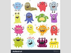 Cute Monster Color Character Funny Design Stock Vector