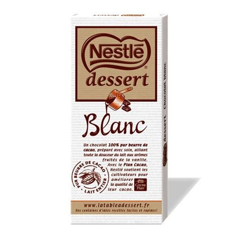 tablette de chocolat nestl 233 dessert blanc le club nestl 233 r 233 union