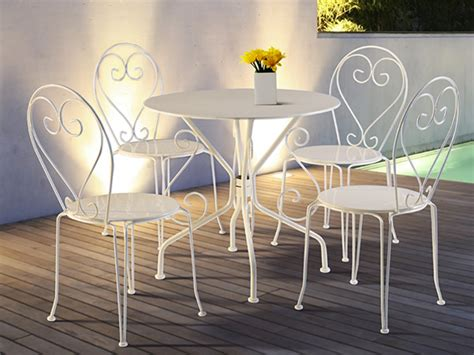 table 4 chaises jardin fer forg 233 guermantes blanc