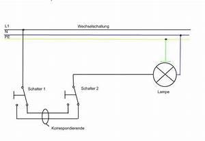 Lampe Mit Bewegungsmelder Und Schalter : wechselschaltung mit doppelschalter elektrik licht schaltplan ~ Markanthonyermac.com Haus und Dekorationen