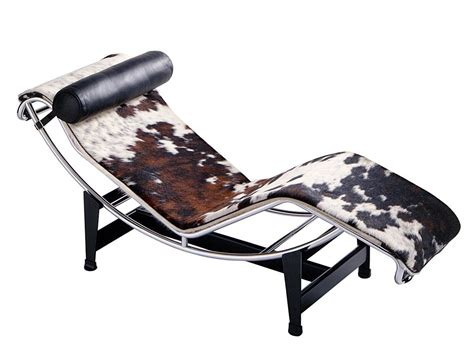 cassina lc4 chaise longue chrome plated spotted hide black white brown by le corbusier