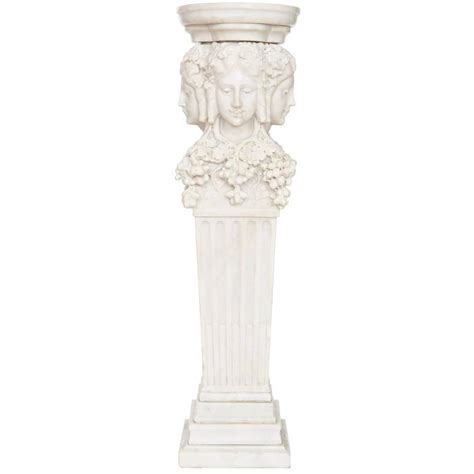 White Marble Antique Italian Pedestal With Fluted Column