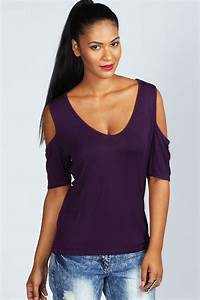 Boohoo Womens Ladies Carly Cold Shoulder V Neck Top T ...