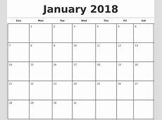 2018 Monthly Calendar Template free calendar 2018