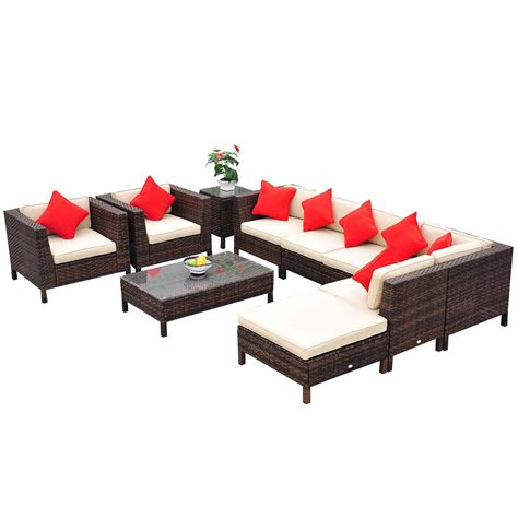 Outsunny Patio Furniture by Review Outsunny 9 Outdoor Pe Rattan Wicker Sectional