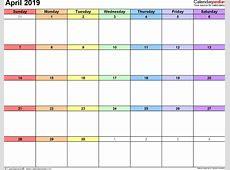 Calendar April 2019 Printable List Calendar Template