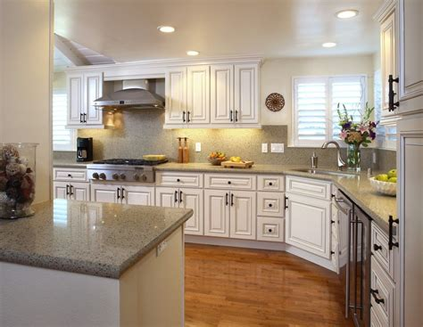 L Shaped French Country Kitchen White Color Scheme