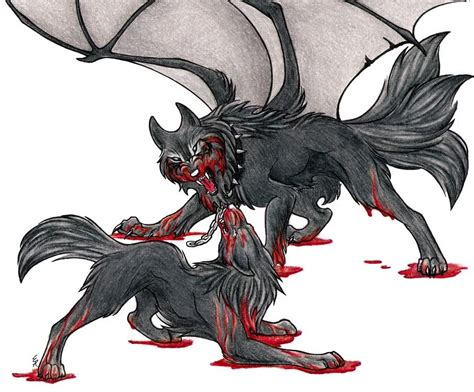 Pencil And In Color Drawn Demon Wolf