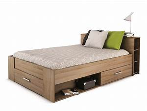 Moderne Betten 140x200 : lit adulte 140 rangement tiroir blanc ch ne clair moderne ~ Markanthonyermac.com Haus und Dekorationen