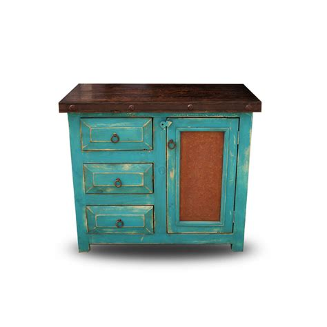 order chico small rustic bathroom vanity with oxidized metal panel on the doors