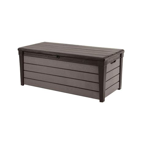 keter brushwood 120 gal resin deck box 227011 the home depot