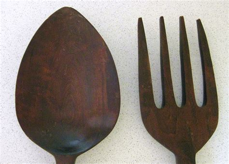 large wooden fork and spoon wall decor 28 inches by lemontreefarm