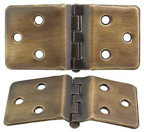 pair of wraparound cabinet hinges in antique by 1 1