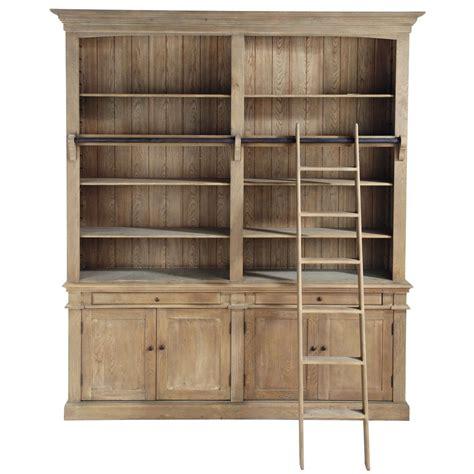 biblioth 232 que avec 233 chelle en bois recycl 233 l 200 cm aristote maisons du monde