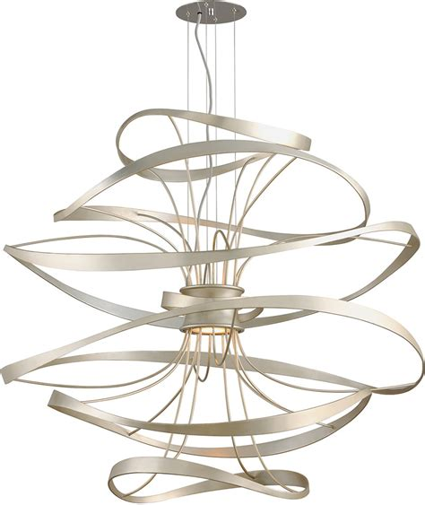 corbett 213 44 calligraphy contemporary silver leaf led large drop ceiling light fixture