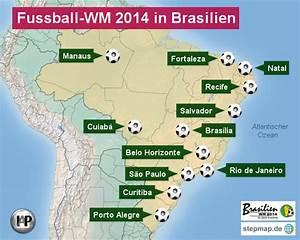 Fußball Weltmeisterschaft 2014 Stadien : fu0ball wm 2014 in brasilien von iap landkarte f r brasilien ~ Markanthonyermac.com Haus und Dekorationen