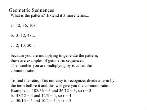 Geometric Sequences  Examples & Practice  Room 148  Pam Wilson