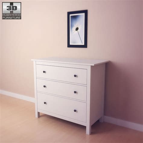 hemnes dresser 3 drawer ikea hemnes chest of 3 drawers 3d model humster3d
