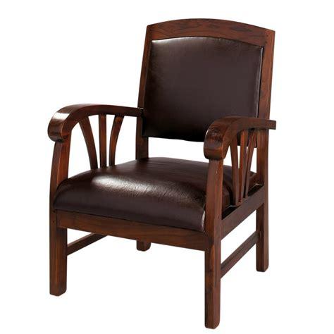 fauteuil en cuir marron singapour maisons du monde