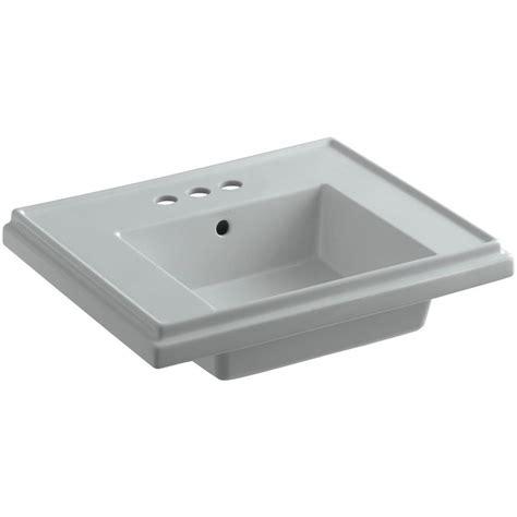 kohler tresham 24 in fireclay pedestal sink basin in grey with overflow drain 2757 4 95