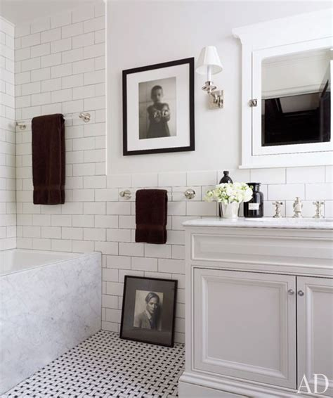 clean crisp white black bathroom design with basketweave tiles floor white bathroom vanity