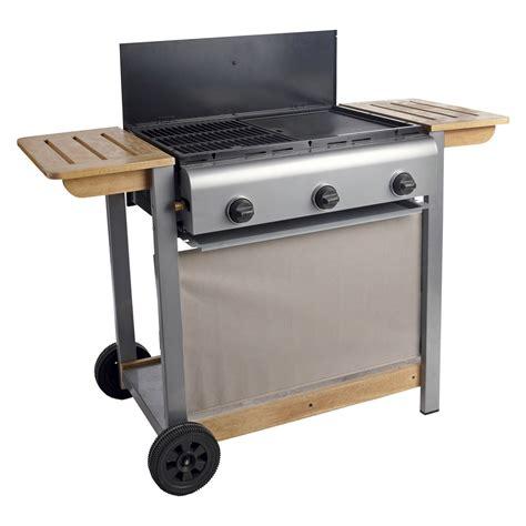 barbecue gaz 3 br 251 leurs grill plancha en fonte sur chariot 63x42cm wombat