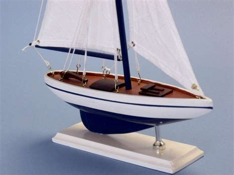 Toy Boat Decoration by Pacific Sailer 17 Quot White Sails Wooden Sailboat