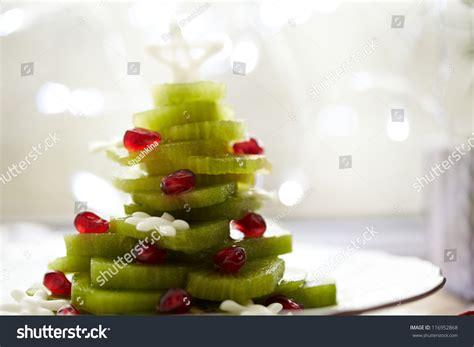 Christmas Tree Fruit Salad With Kiwi And Pomegranate Stock