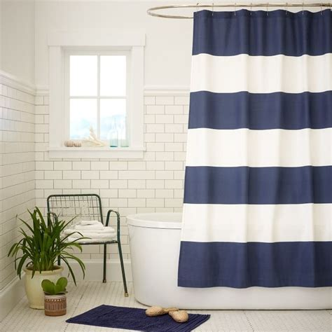 stripe shower curtain dusty navy contemporary shower