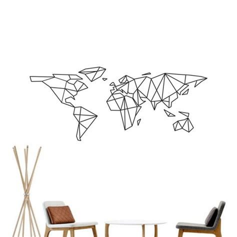 map of the world vinyl wall decal home decor geometric removable world map wall sticker