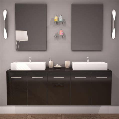 meuble salle de bain vasque olex 150cm laqu 233 noir acheter moins cher
