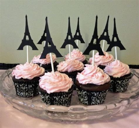 12 eiffel tower cupcake toppers birthday cupcake topper eiffel tower decor