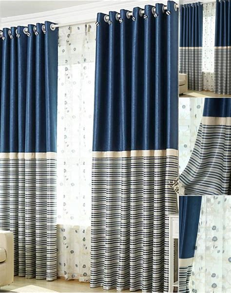 Navy And White Striped Curtains Blackout by Brief Navy Blue Blackout Living Room Ready Made Striped