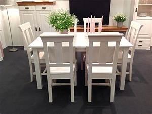 Tisch Weiß Holz : massivholz tischgruppe sitzgruppe essgruppe 7 teilig kiefer massiv wei ~ Markanthonyermac.com Haus und Dekorationen