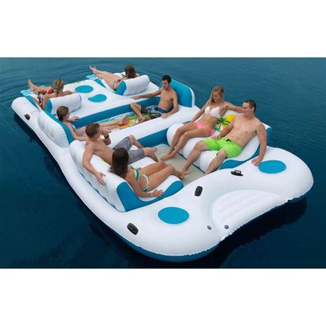 Blow Up Boat Dock by Giant Pool Ocean Large Floating Island 8 Person Inflatable