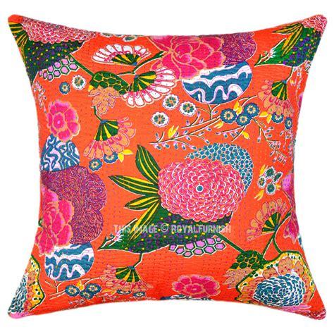 24 quot oversized large orange tropical kantha sofa