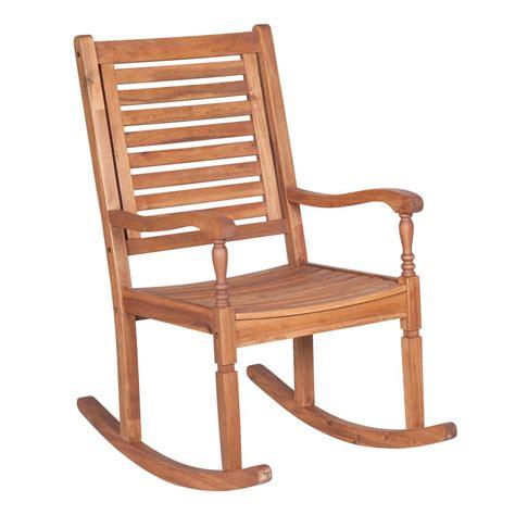 walker edison furniture company boardwalk brown acacia wood outdoor rocking chair hdwrcbr the