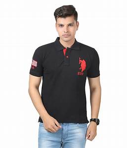 USPA Black Polo Neck Half sleeves T-shirt - Buy USPA Black ...