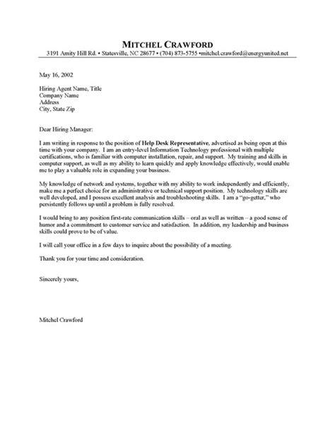 entry level helpdesk cover letter sle resume cover letter