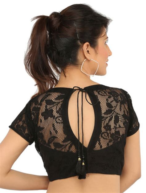 Boat Neck Readymade Blouses Online by Buy Black Boat Neck Lace Ready Made Blouse Online