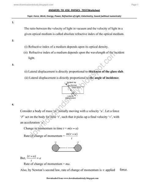 15 Best Images Of Refraction Of Light Worksheet  Light Reflection And Refraction Worksheet