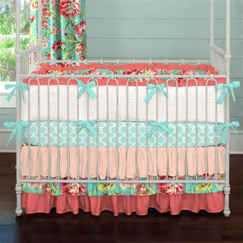 coral and teal floral crib bedding baby bedding