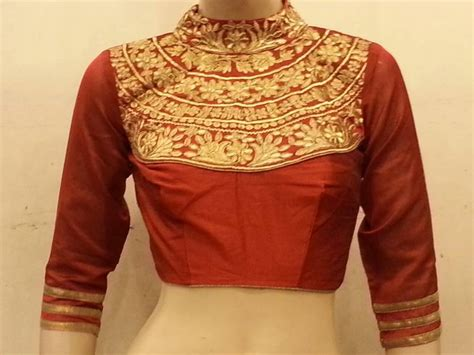 Boat Neck Readymade Blouses Online by Buy Maroon Dupion Silk Highneck Zari Embroidered Blouse Online