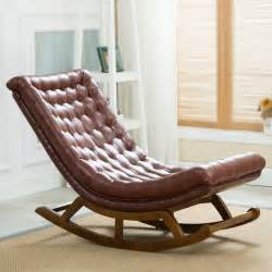 aliexpress buy modern design rocking lounge chair leather and wood for home furniture