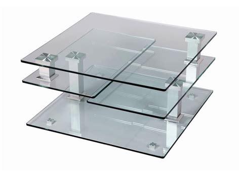 table de salon carr 233 e 4 plateaux en verre tremp 233 pivotants structure en acier chrom 233 meubles