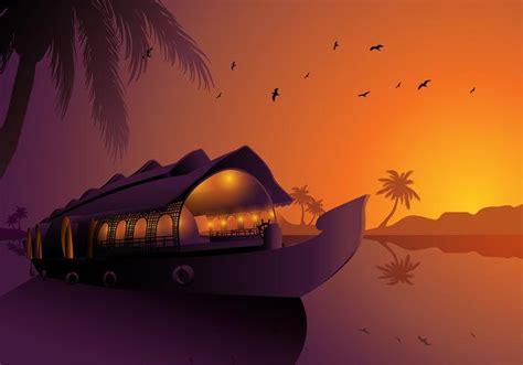 Kerala Boat House Vector by Alappuzha Houseboats Kerala Silhouette Free Vector