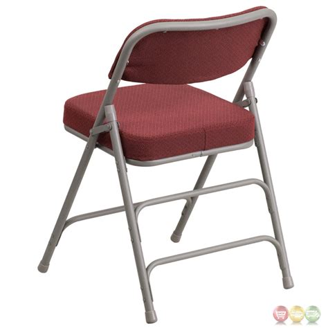 hercules premium hinged burgundy fabric upholstered metal folding chair