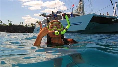 Catamaran Snorkeling Kona Hawaii by Snorkel Cruise Snorkel Tour Kona Waikoloa Big Island Hawaii