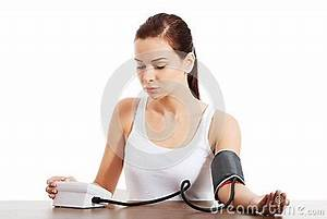Young Woman Doing Blood Pressure Test. Stock Image - Image ...