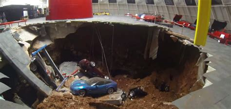 chevrolet cars news sinkhole swallows corvettes in us